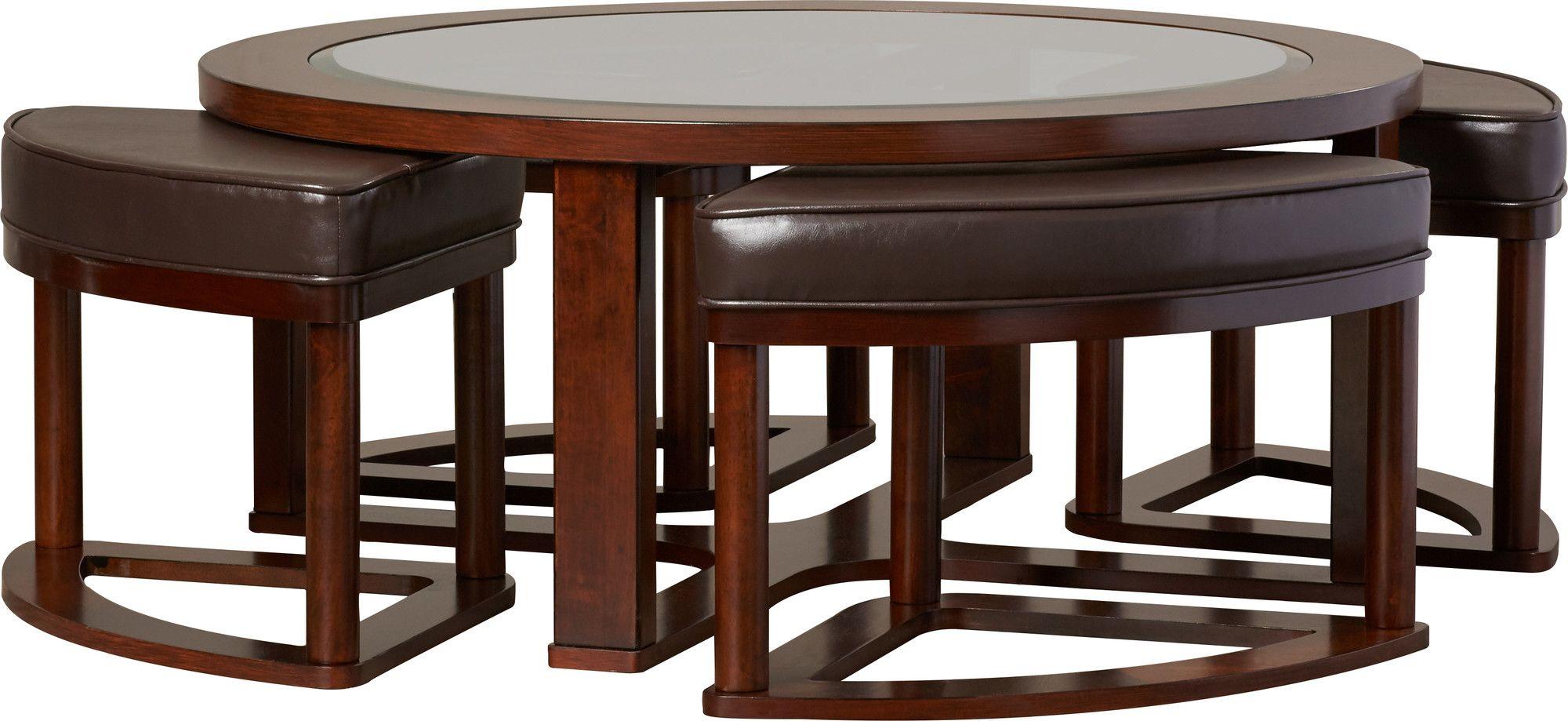 Eastin coffee table with nested stools hogar