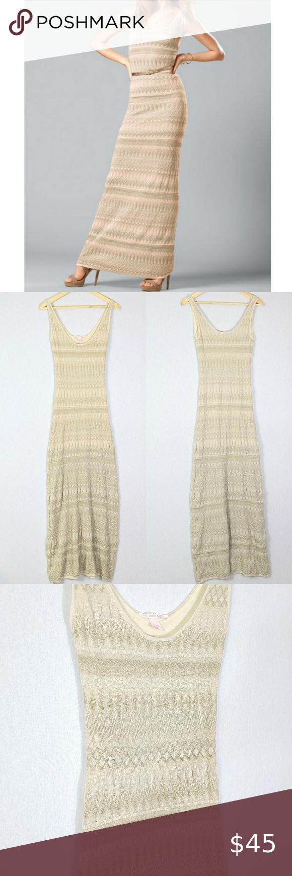 Victorias Secret Metallic Gold Knit Maxi Dress Maxi Knit Dress Victoria Secret Maxi Dress [ 1740 x 580 Pixel ]