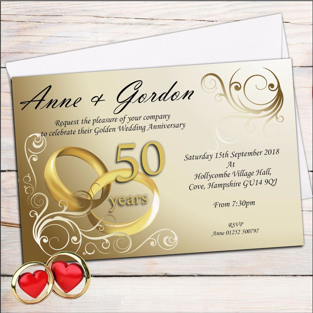 Details about 10 Personalised Elegant Golden 50th Wedding