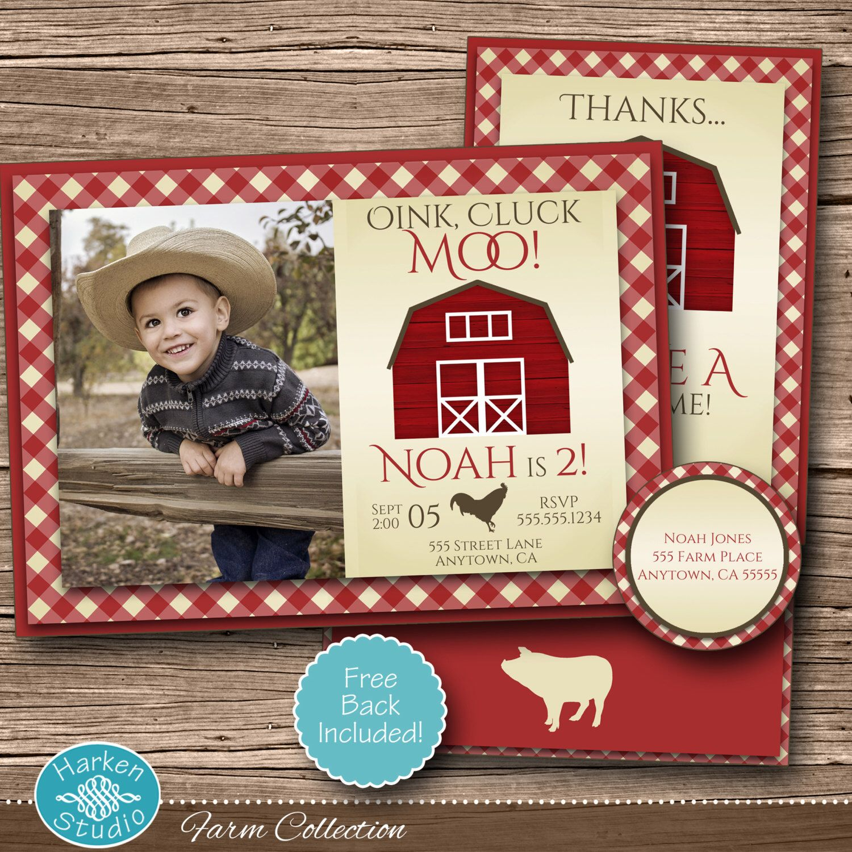 Farm Invitation Kit, Printable Farm Birthday Party Photo Invite, Cow ...