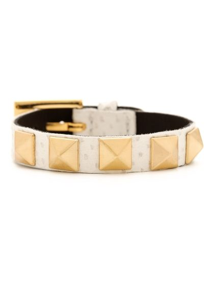 White Leather Pyramid Stud Bracelet