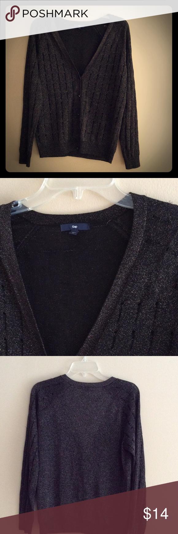 GAP Black with Gold threading cardigan sweater