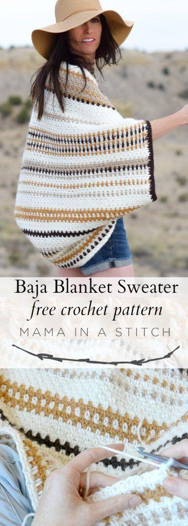 Baja Blanket Sweater Crochet Pattern   dayana   Pinterest   Häkeln ...