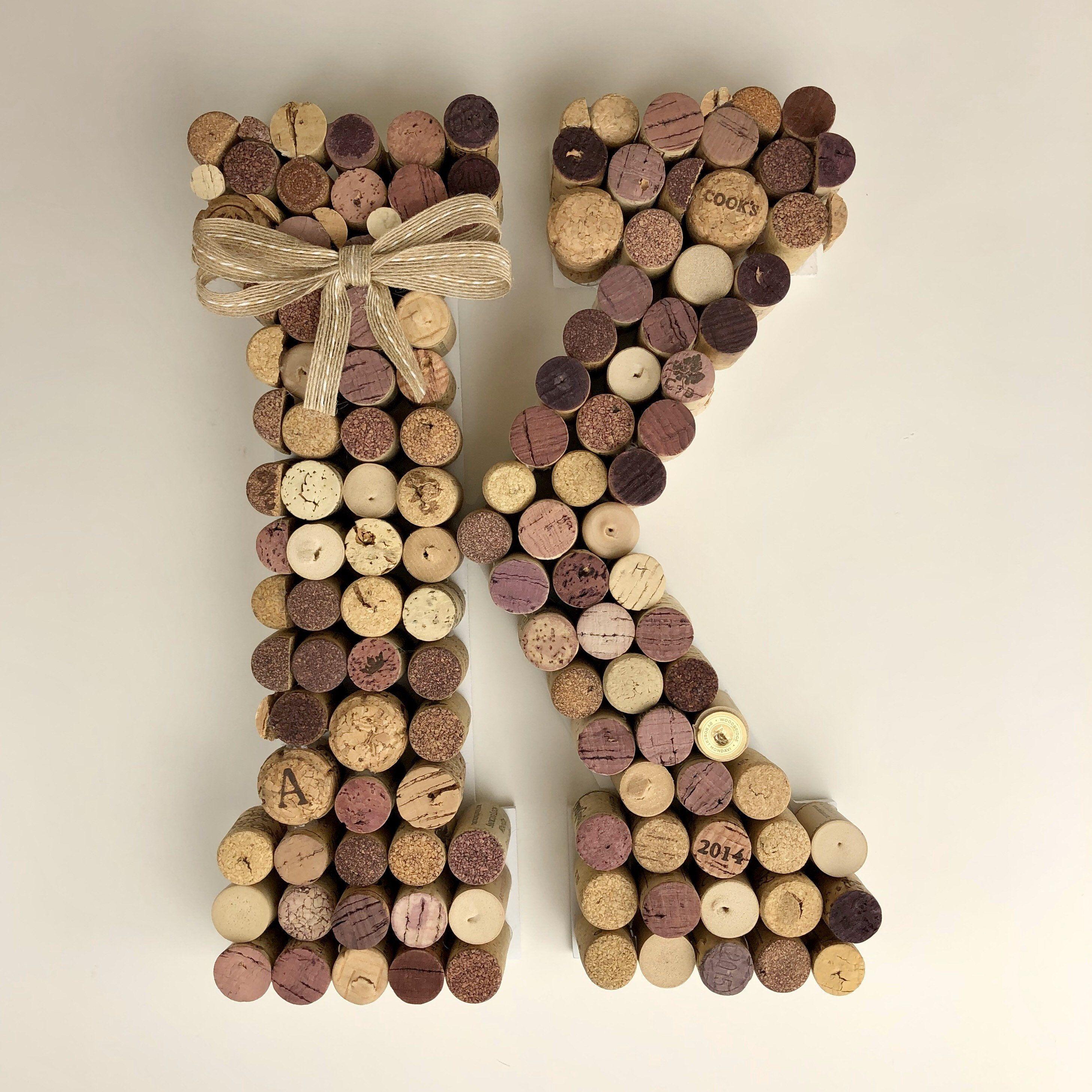 Large Cork Letter B C D E F G H I J K L M N O P Q R S T U V W X Y Z Wine Cork Decor Memo
