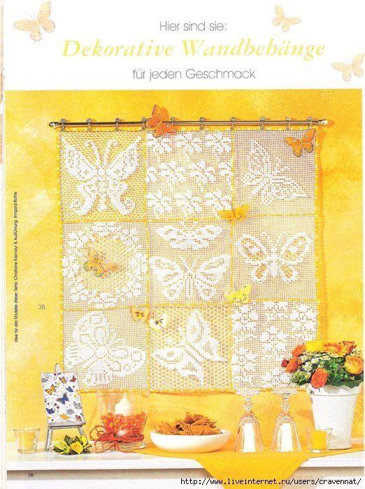 Filet crochet motifs in squares - diagrams. | Filet Crochet ...