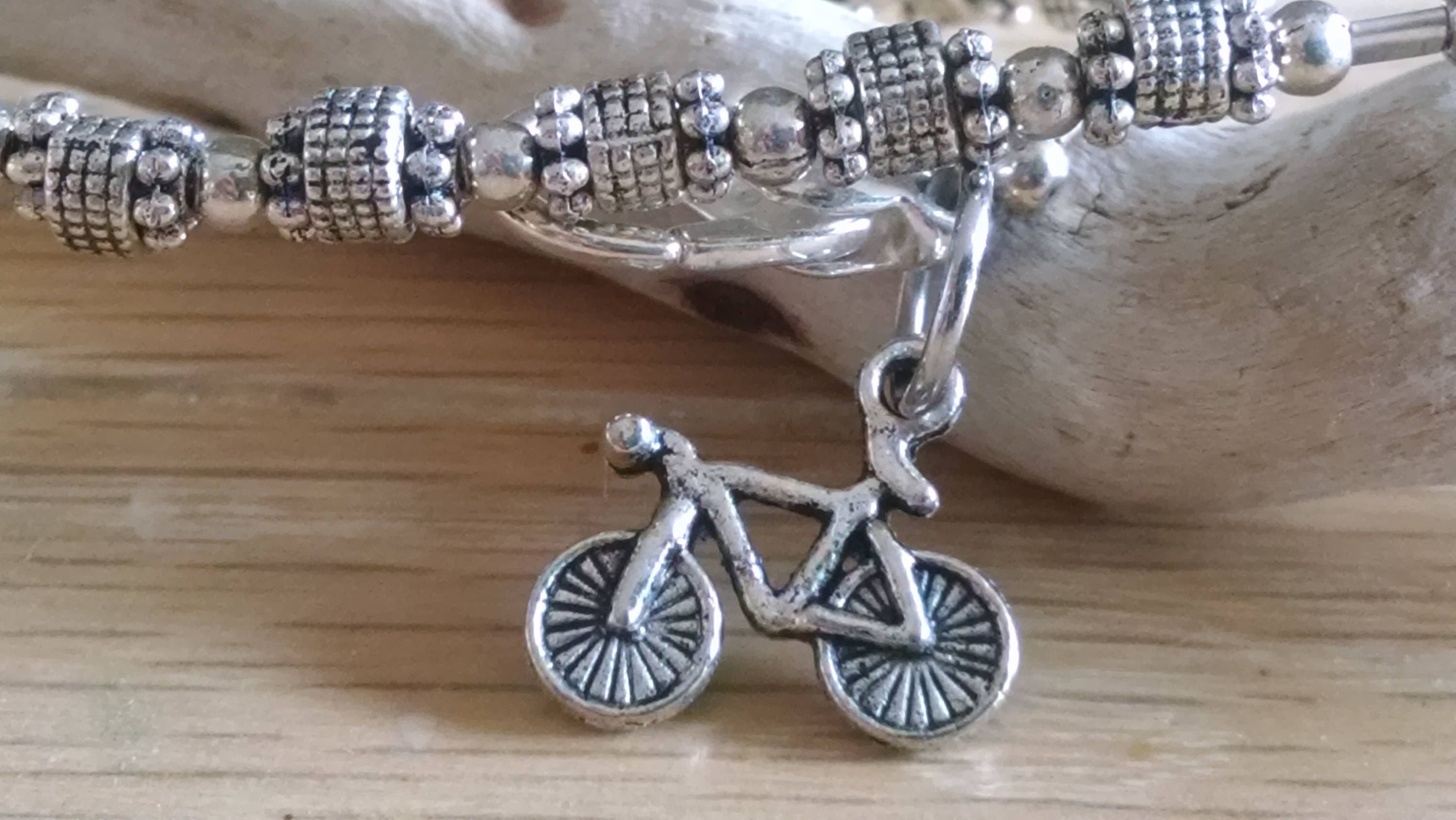 Silver Bicycle Charm Bracelet Bike Jewelry Road Spin Cl Cycling Tour De France By Thecharmedbeader