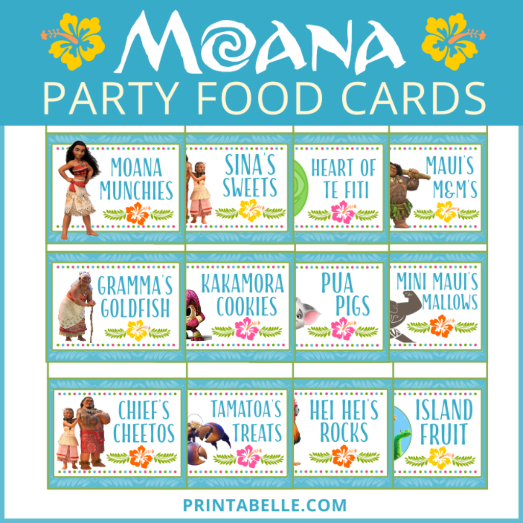 this printable moana party food card set comes with 16 luau party