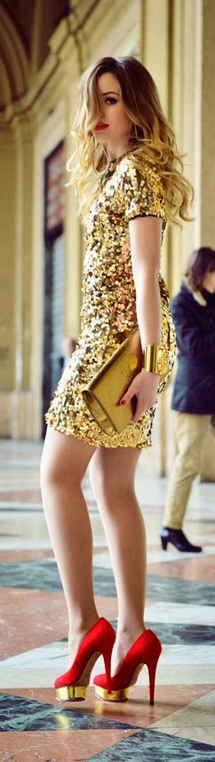 Gold Dress With Red Heels