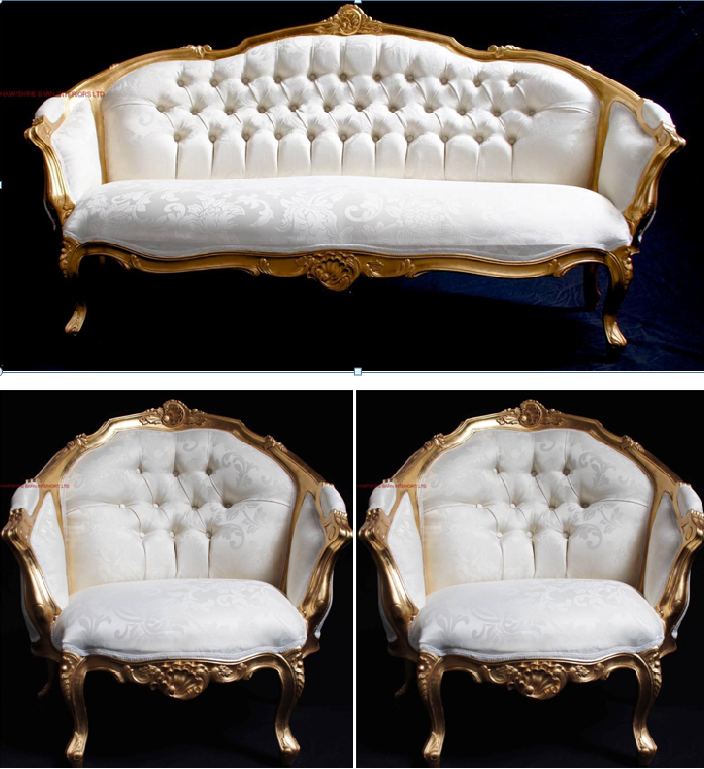 ascot three piiece suite ornate gold leaf italian style ...