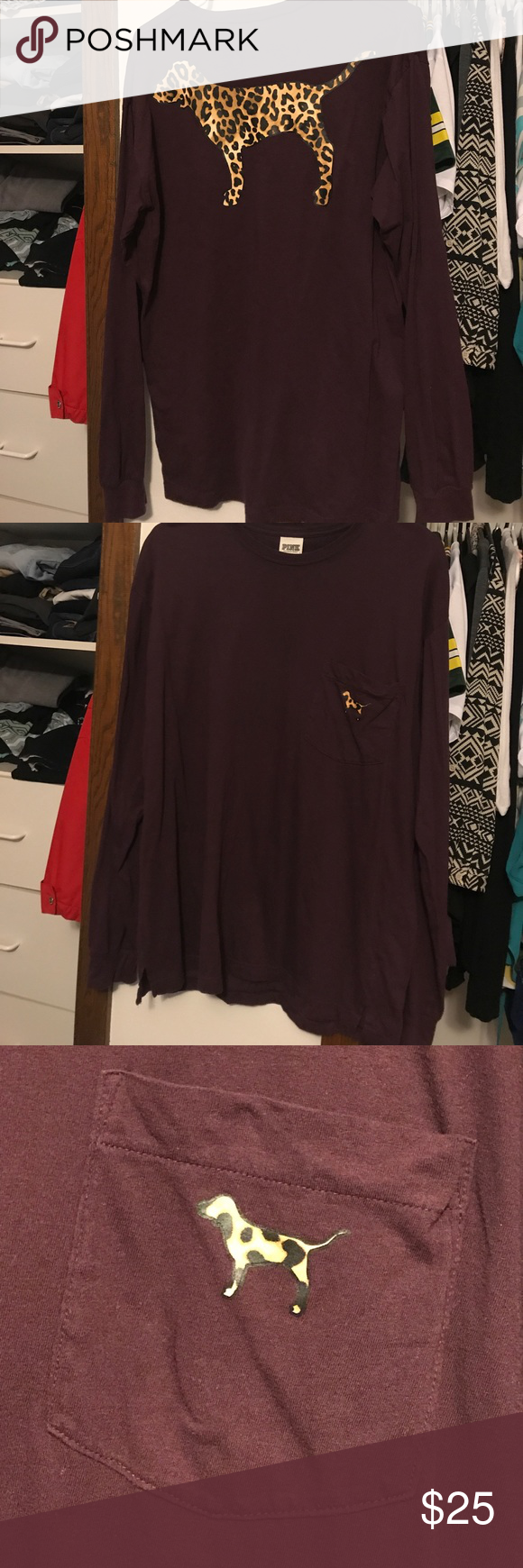 Maroon Cheetah Pocket Crew CHECK OUT MY OTHER VS PINK!!                                    Excellent condition  No flaws Always hung to dry  Beautiful cheetah logo  Pocket on front Oversized Medium  Bundle to save on shipping! PINK Victoria's Secret Tops Tees - Long Sleeve