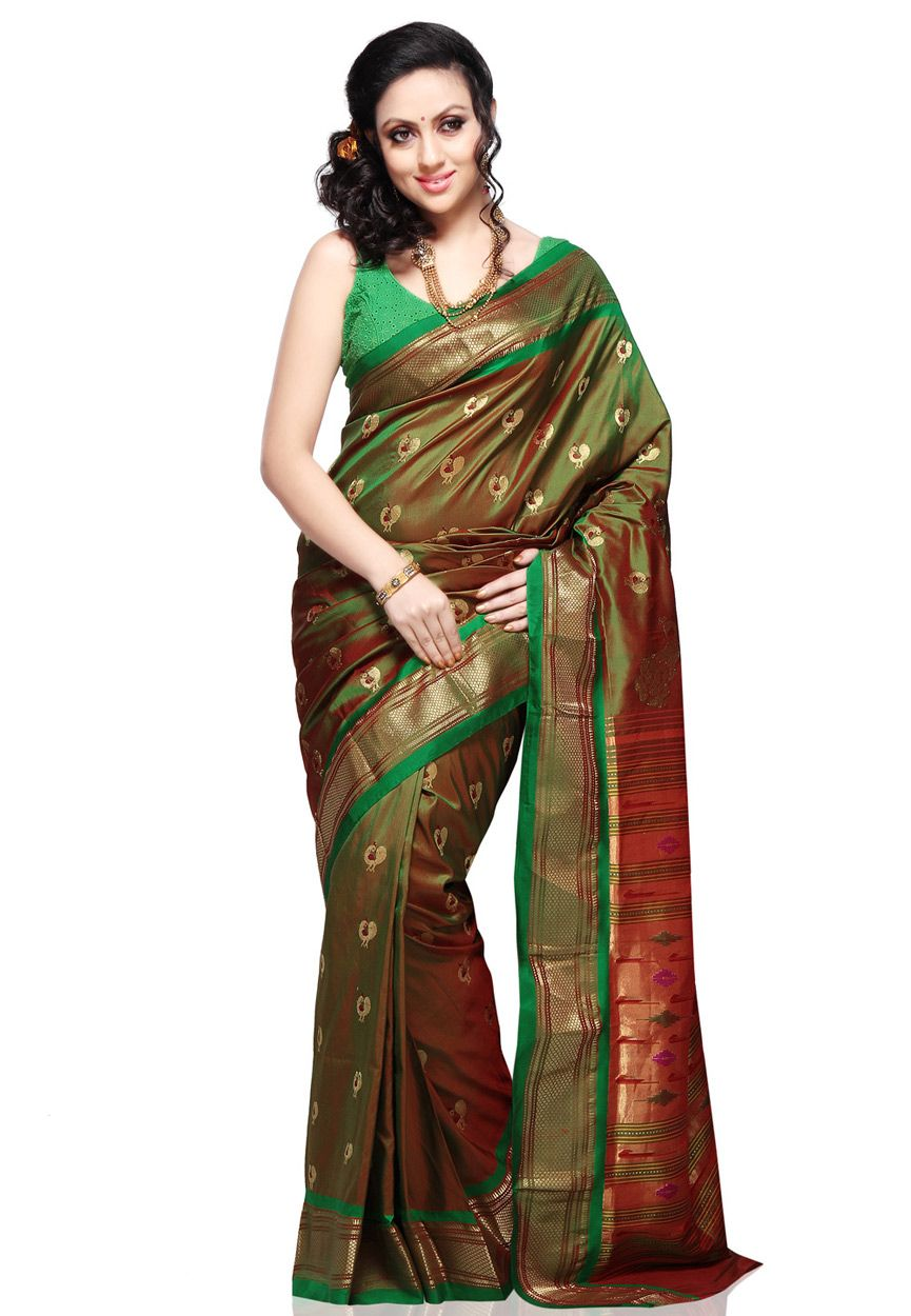 fea5d5227 New design of paithani sarees, Paithani sarees online shopping, Paithani  Silk Saree With Matching Blouse Piece for more info www.uppada.com