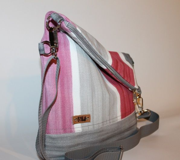 Womens fold over bag  #bag #fold over bag #womens bag #grey-pink bag #crossbody bag #canvas bag
