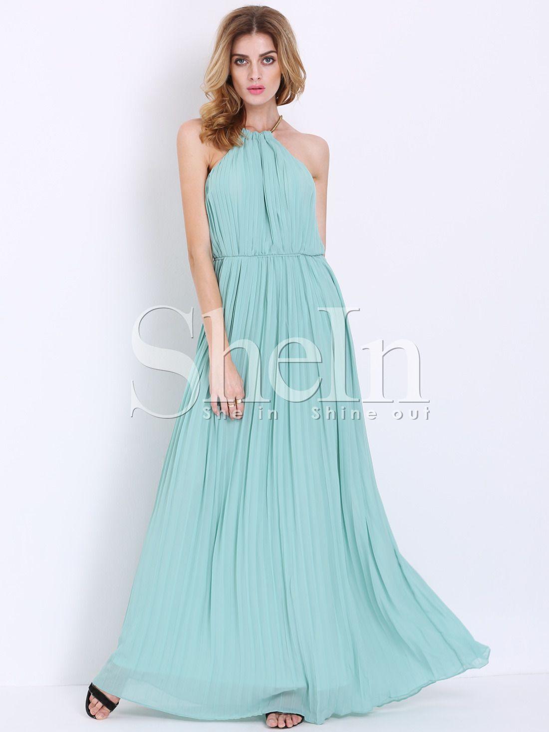 Vestido largo plisado Halter sin mangas- verde menta | MINT ...