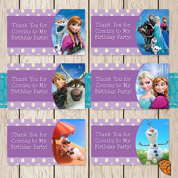 Printable Frozen Birthday Goody Bag Tags By