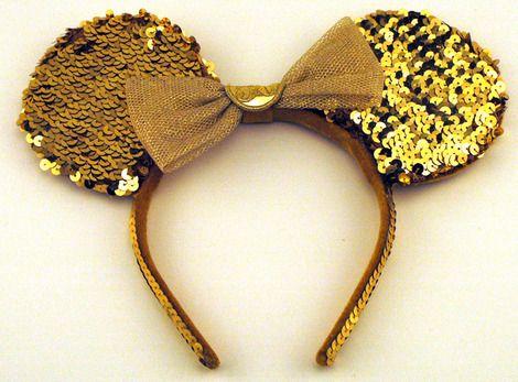Disney 50th Anniversary Gold Sequins Minnie Mouse Ears Headband.