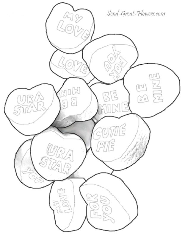 Valentine Candy Hearts Coloring Page