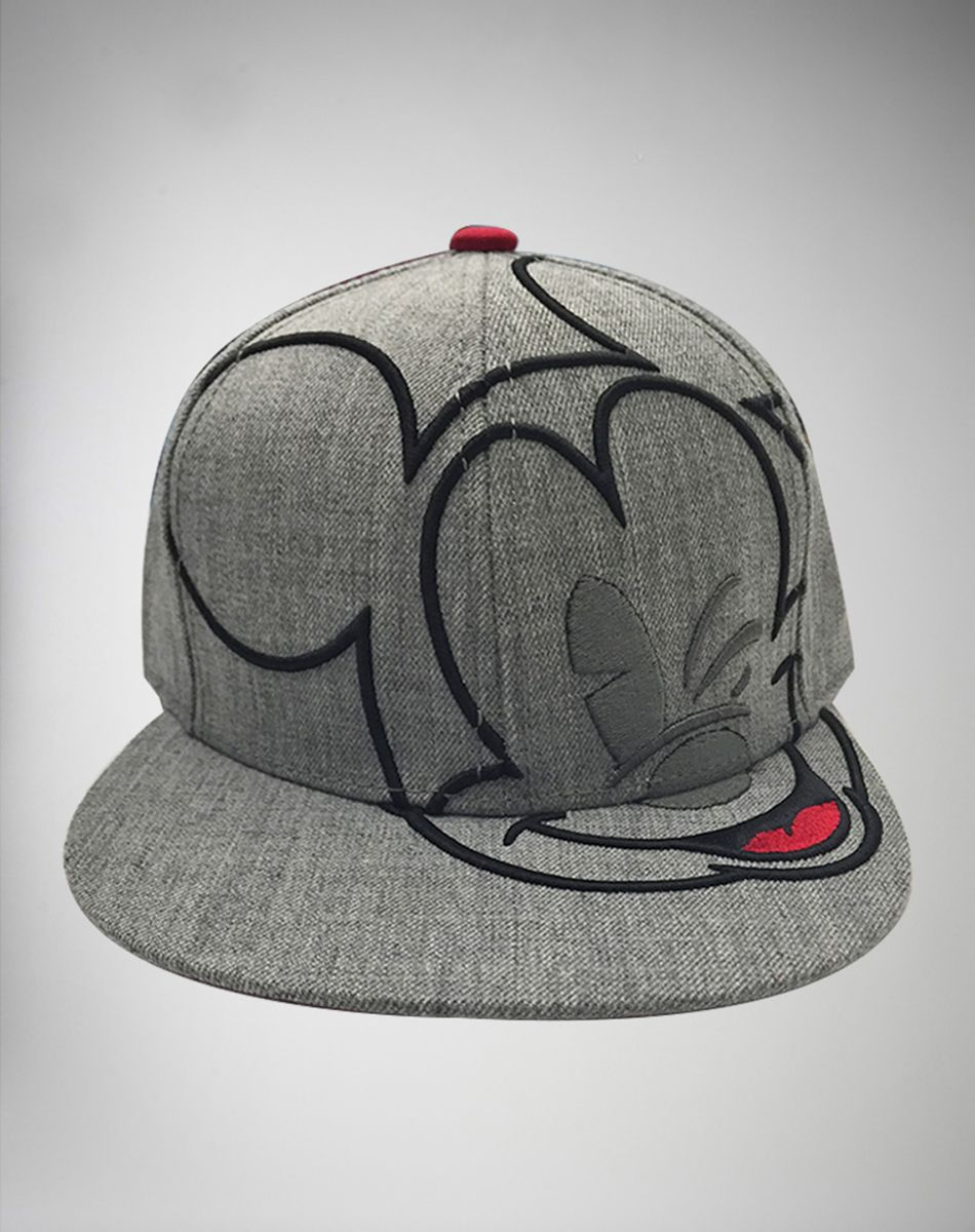 Grey 3D Embroidered Mickey Mouse Snapback Hat  3513ba058ea