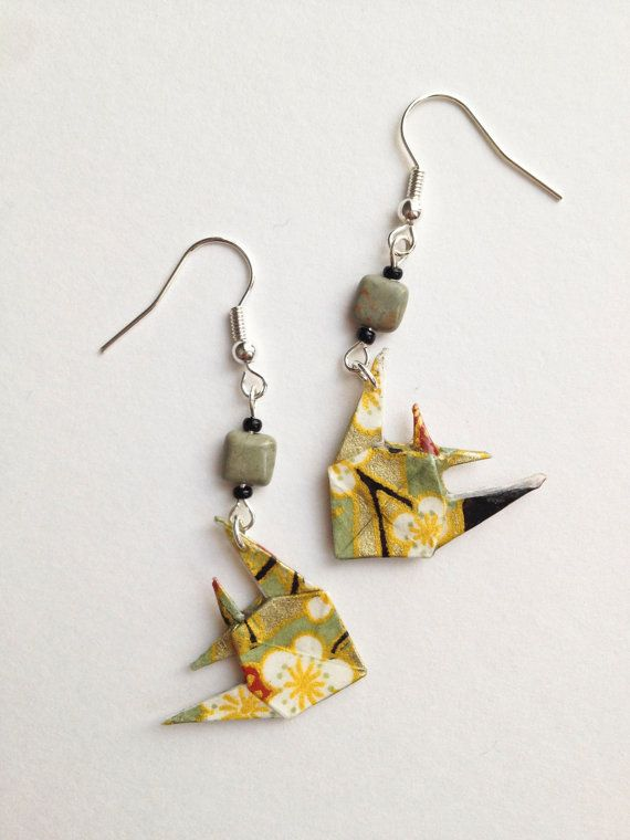 gold and black spring sakura origami fish earrings with