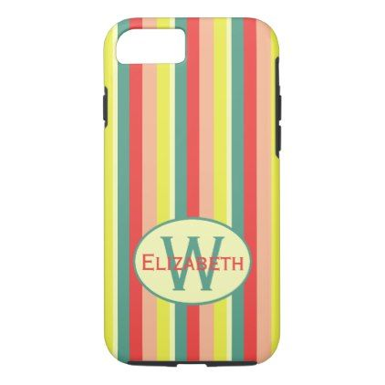 Comic Book Palette Stripes Monogram iPhone 8/7 Case - blue gifts style giftidea diy cyo