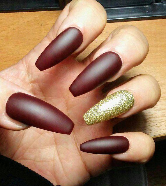 Long Matte Coffin Nails Burgundy Maroon Gold Glitter Red Etsy Maroon Nails Gold Nail Designs Gold Nails
