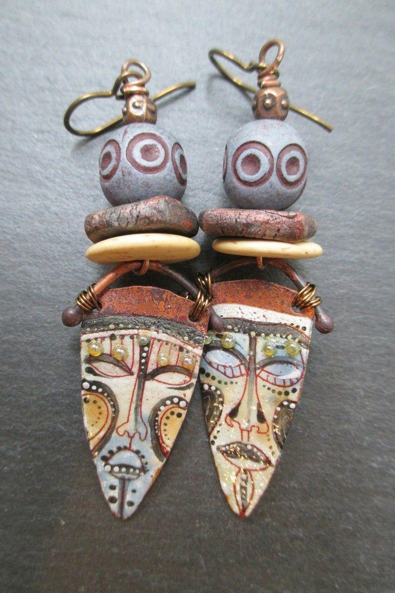 African Mask Enamel Earrings Tribal Earrings Rustic Ceramic Etsy Tribal Earrings Earrings Ceramic Beads