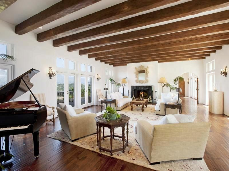 Sothebys+santa+barbara+estate+mansion+house+living+room+fireplace+arched+doorways+wood+floors+ Exposed+wood+beam+ceiling+cococozy (800×600) Gallery