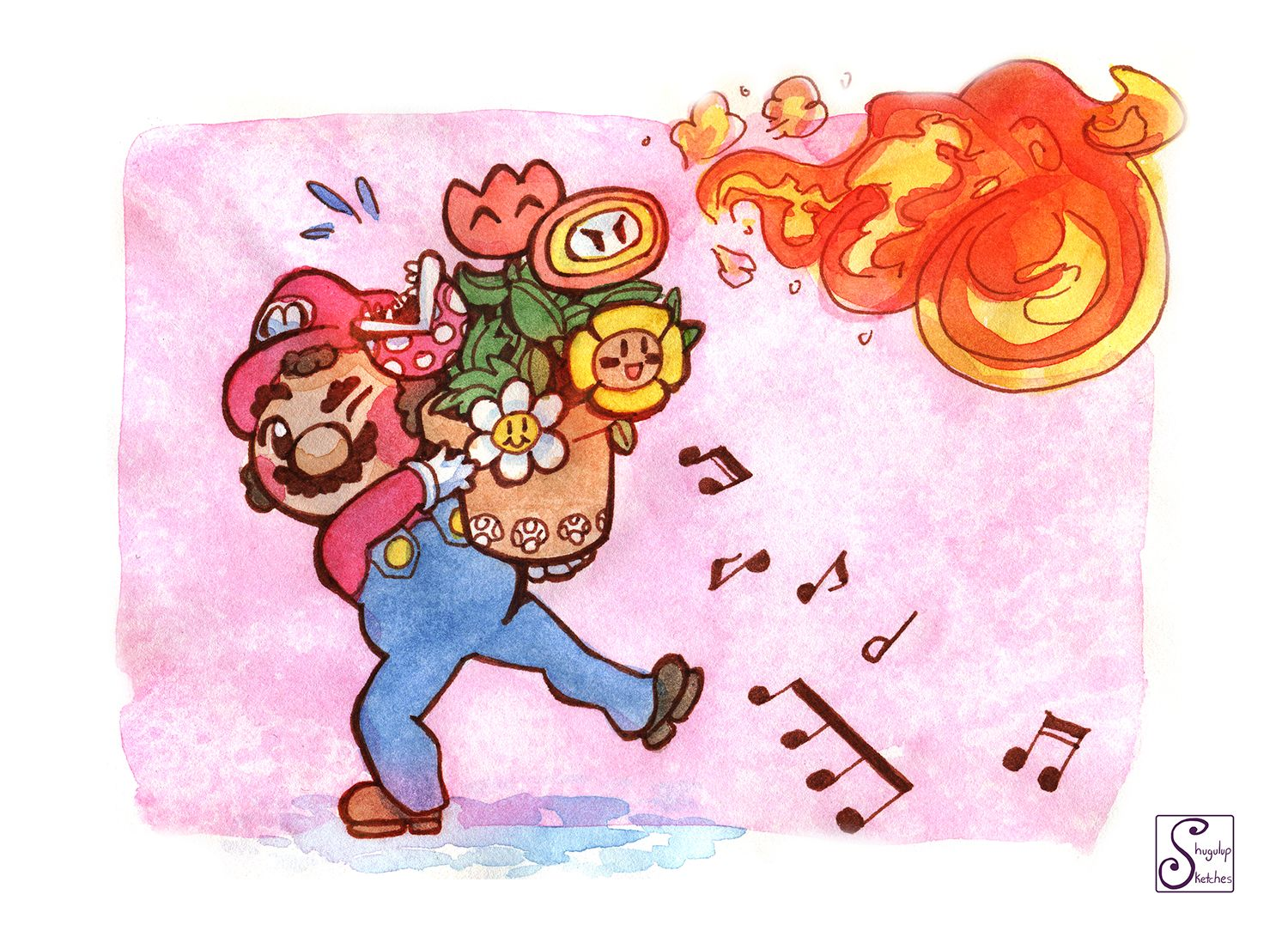 Lively Bouquet Super Mario Valentines Day Card Cards For Etsy Nerdy Cards Super Mario Nerd