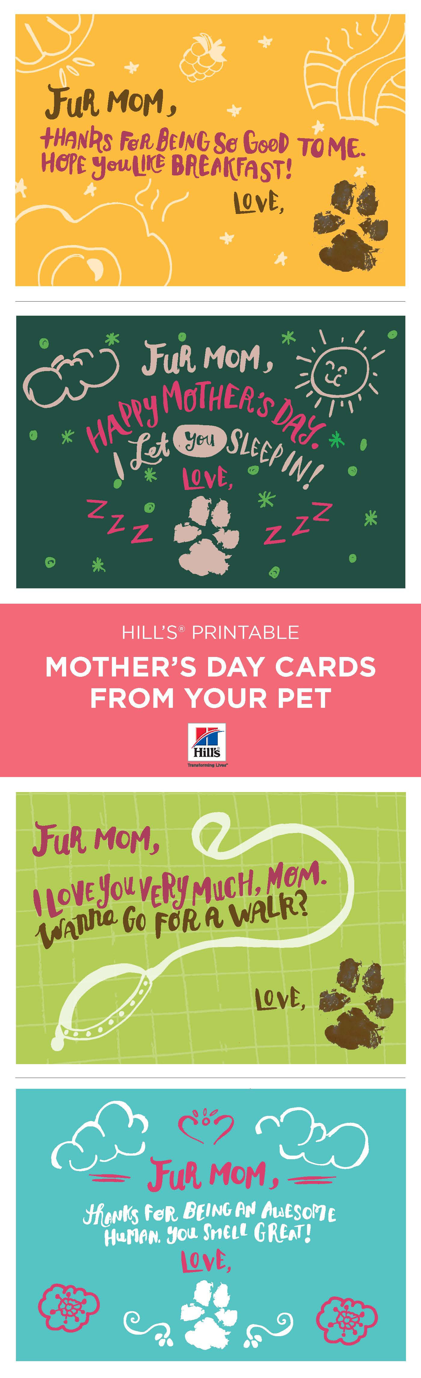 Free printable Mother's Day cards from your pet! Download yours today!