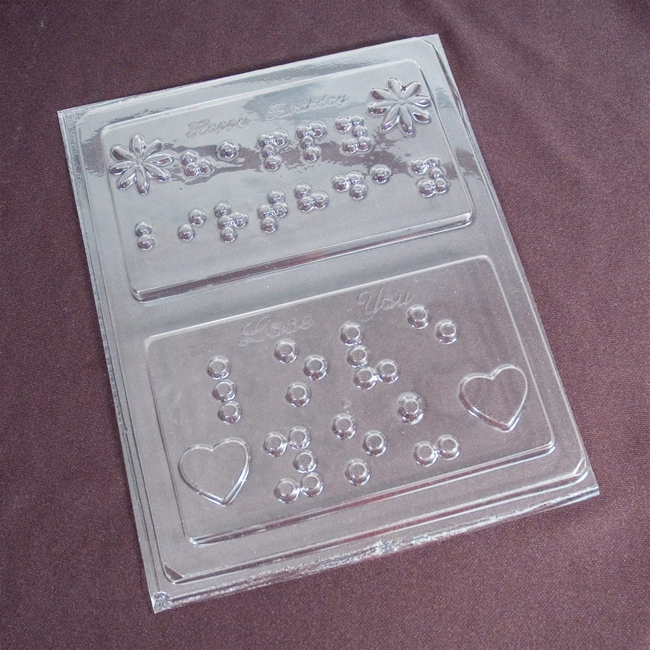 Braille Card Chocolate Candy Mold- Happy Birthday And Love