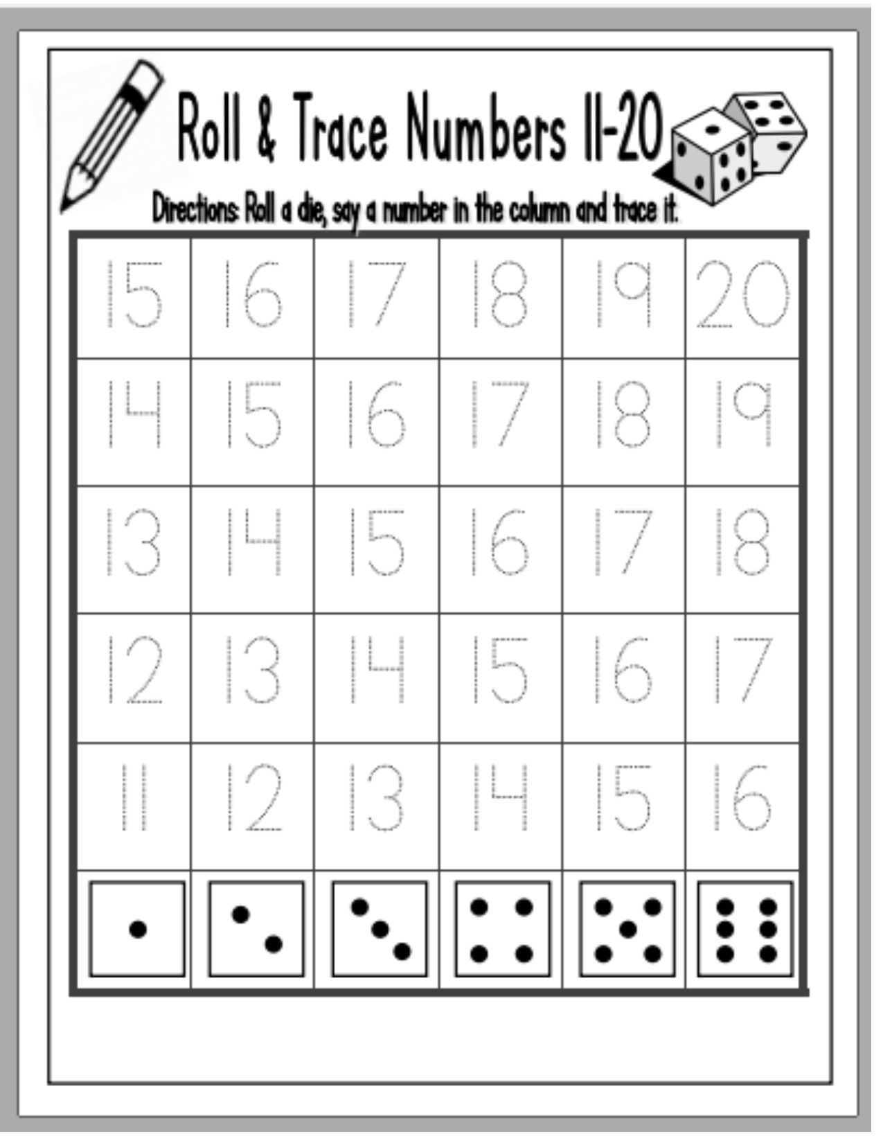 Roll Trace Numbers 11 20 Early Learning Dice Game