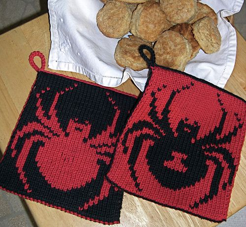 Double Knit Reversible Potholder Instructions To Knit With Black