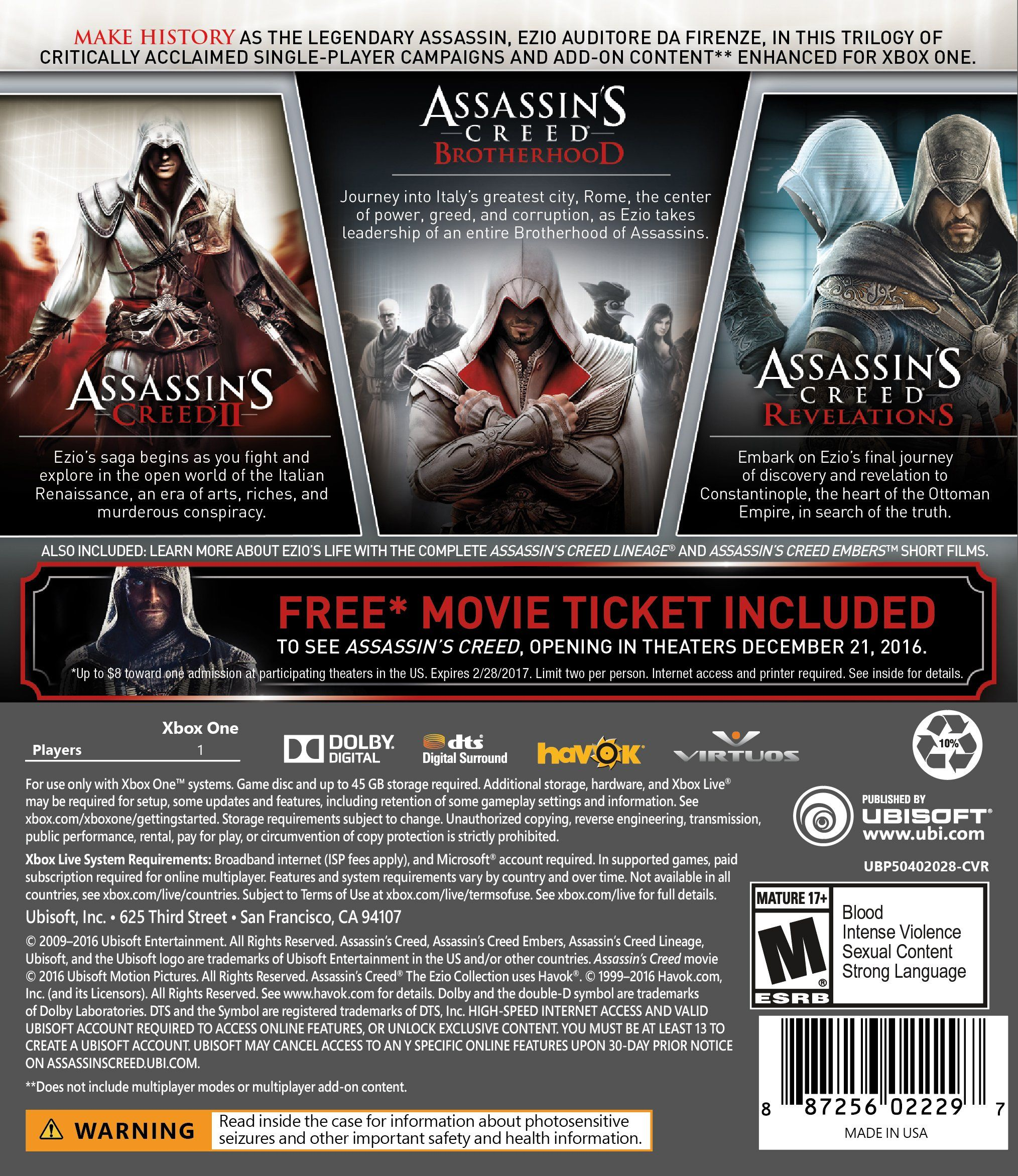 Assassin S Creed The Ezio Collection Xbox One Creed Assassin