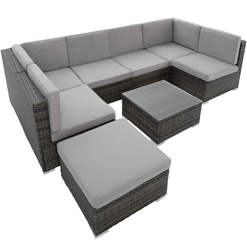 Tectake 402698 Xxl Poly Rattan Sitzgruppe Venedig 6 Sitze 1 Tisch