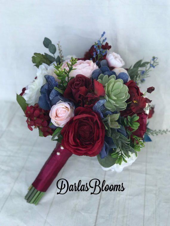 Burgundy wine Wedding bouquet, Dusty blue bouquet, Steel blue bouquet, Bridal bouquet, Blue & burgundy bouquet, Silk wedding bouquet