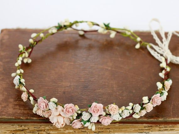 Blush Flower Crown Wedding Salmon Floral Crown Floral Headband Bridal Crown Crown Apricot Headpiece Coral Pink Flower Girl Halo Peach Bloom