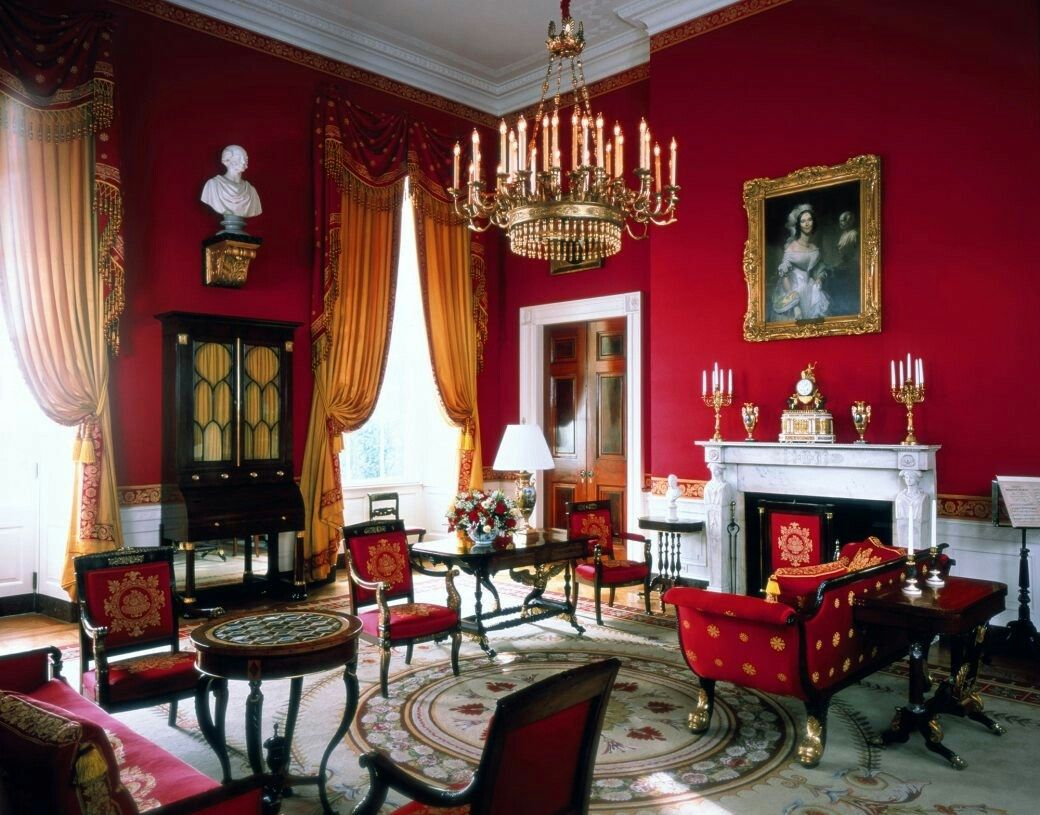 White House Red Room With American Empire Furniture
