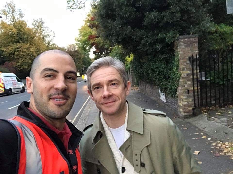 Martin Freeman with Fan today (x) Dr Watson I presume - dr watson i presume