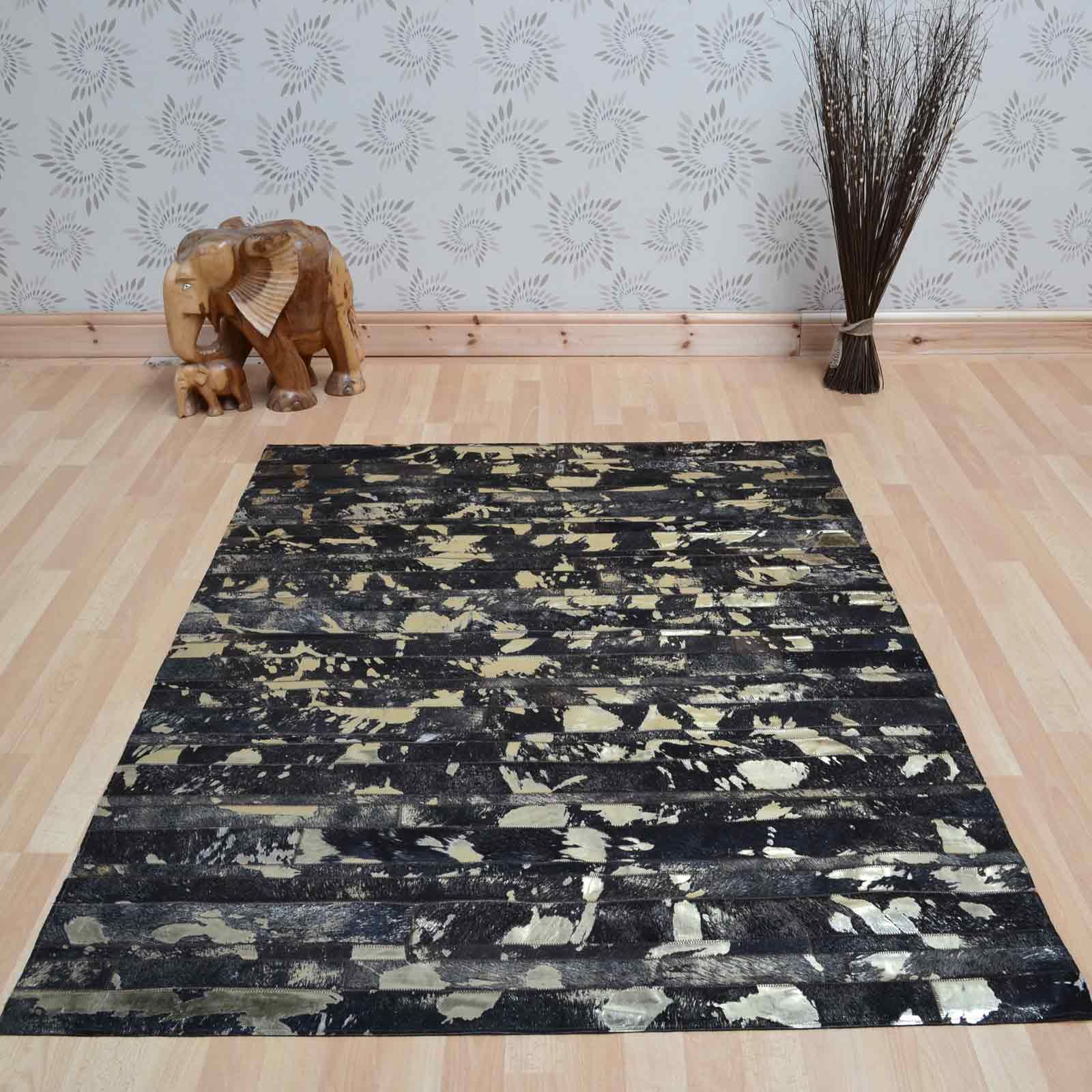 Rodeo Metallic Leather Rugs in Gold