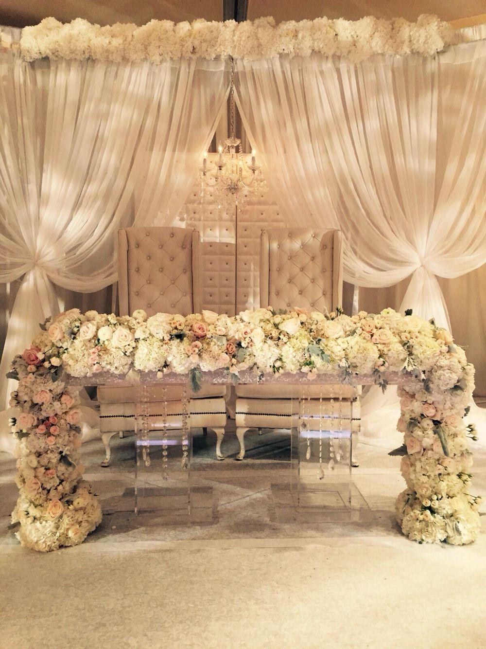 Beautiful  wedding decor- thrones for bride and groom
