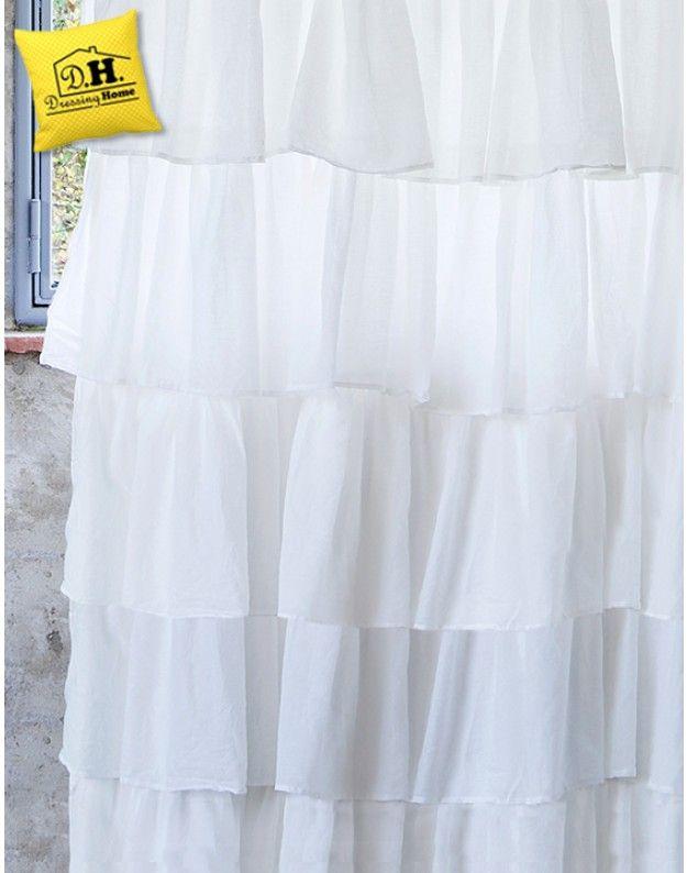 Tenda Shabby Chic Fru Fru Collection Blanc Mariclo 150x285 Colore ...