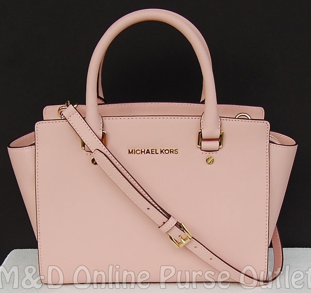 71e50c5ba745 NWT Michael Kors Saffiano Leather Selma Medium TZ Satchel Purse Bag ~Pastel  Pink  MichaelKors  TotesShoppers