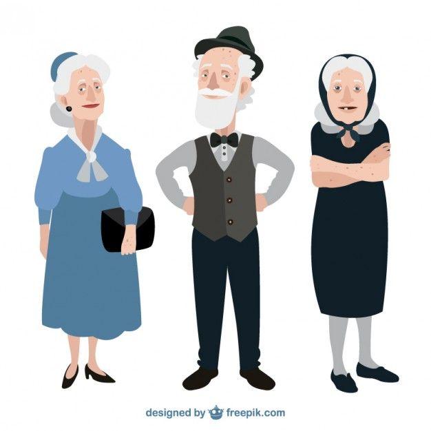 Funny Grandparents Free Vector Freepik Freevector People Human Clothes Elegant In 2020 Old Man Cartoon Human Vector Couple Cartoon