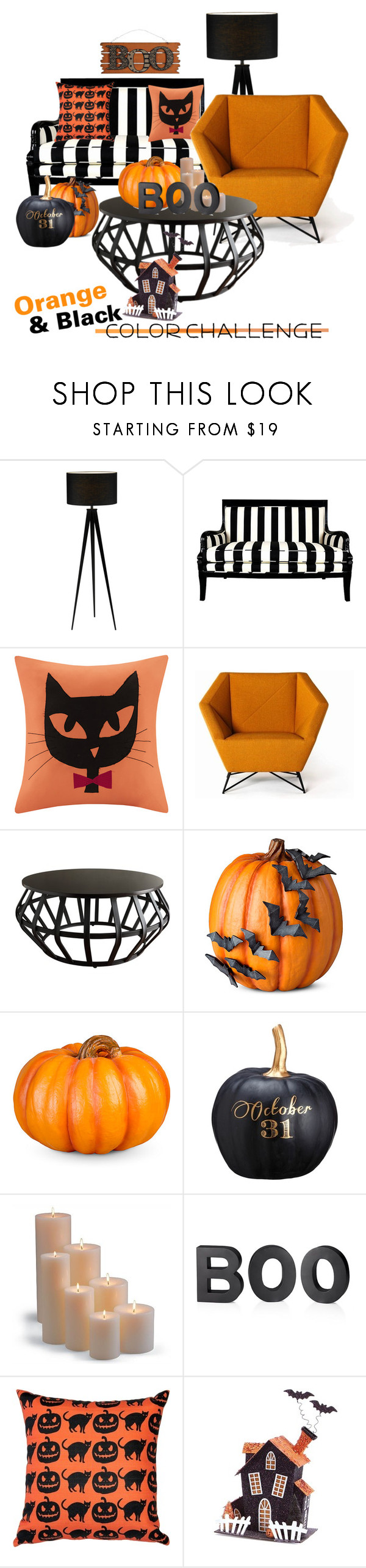 """""""Halloween Color Challenge•Home•"""" by ebeb1233 ❤ liked on Polyvore featuring interior, interiors, interior design, home, home decor, interior decorating, Madison Park, Tribecca Home, Improvements and Allstate Floral"""
