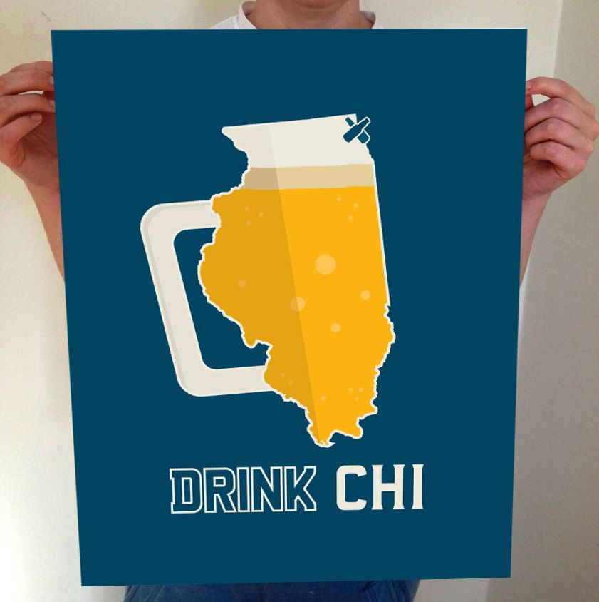 Chicago, Chicago Beer Print, CHI, Chicago Beer, Chicago Poster ...