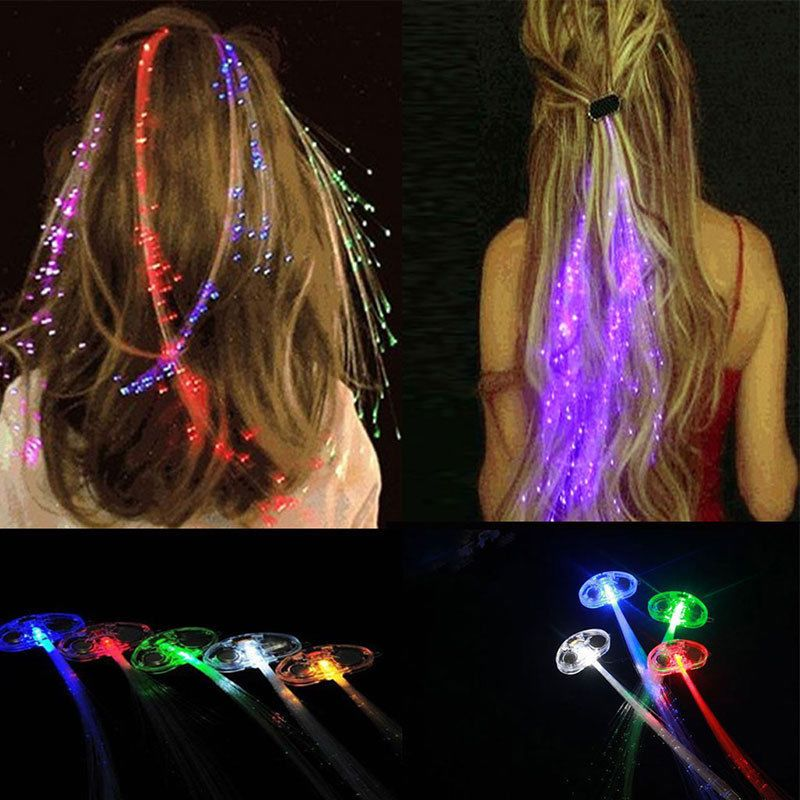 Light Up Led Hair Extension Braid Clip Girls Gift Party Pony Tail