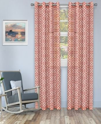 Superior Semi Sheer Honeycomb Printed Curtain Panels Set Of 2 52