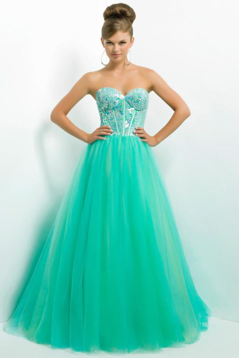 Buy Fresh Tulle Prom Dress With Bright Rhinestone Floor Length On ...