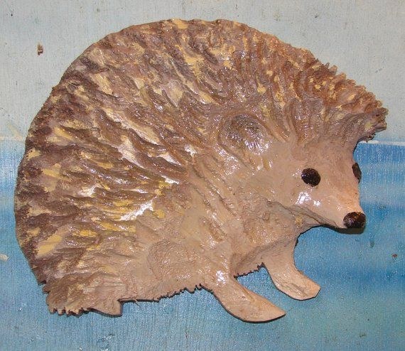 Chainsaw Carved White-bellied Hedgehog Wall Art Hand