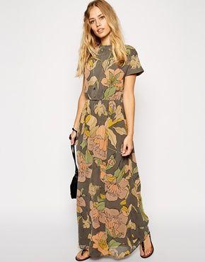 Agrandir ASOS - Maxi robe à col montant et imprimé oiseaux