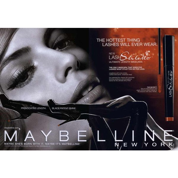 d913606a172 Maybelline Lash Stiletto Ultimate Length 2009 - MyFDB ❤ liked on Polyvore  featuring ad campaign